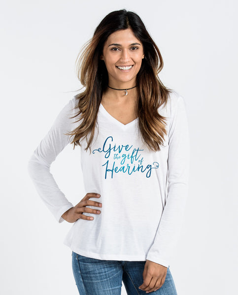 GIVE THE GIFT OF HEARING Womens Flowy Long Sleeve V-Neck