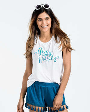 GIVE THE GIFT OF HEARING Womens Muscle Tank