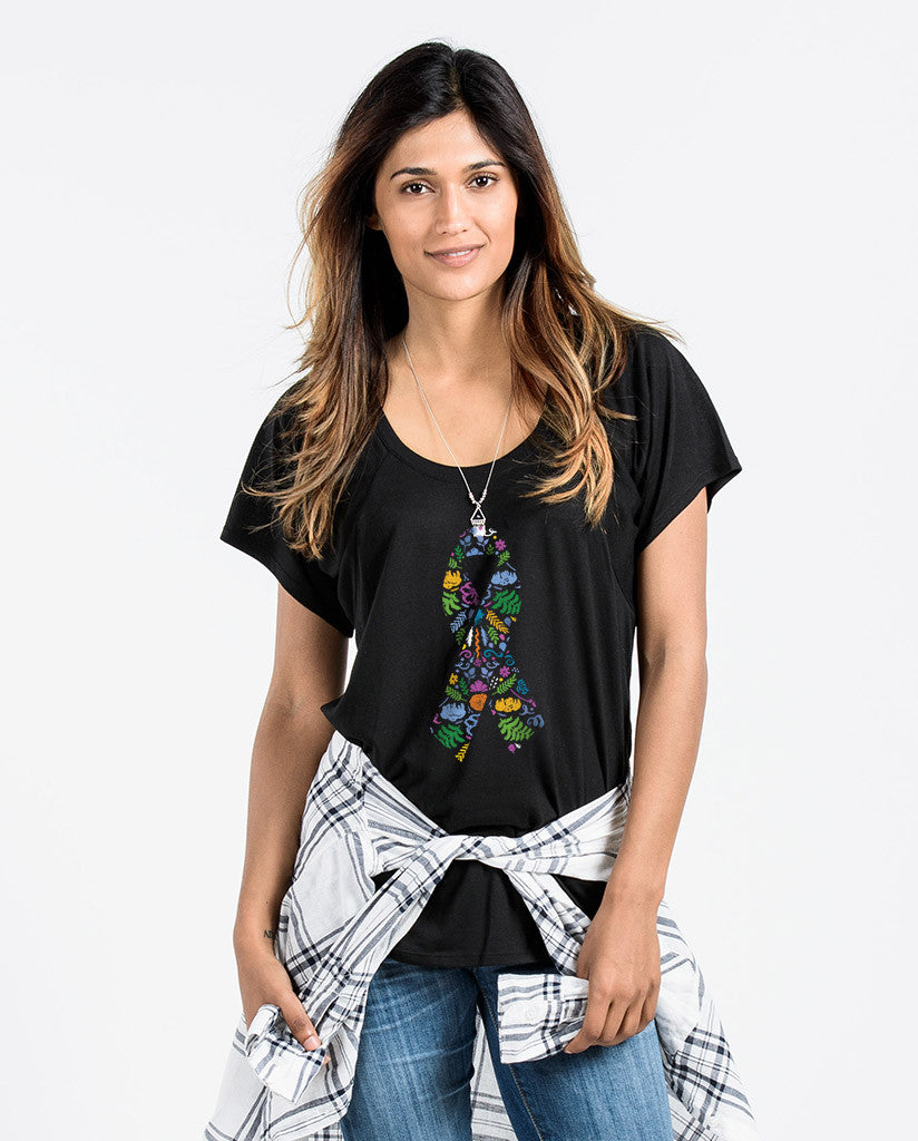 Flower Ribbon Womens Flowy Raglan