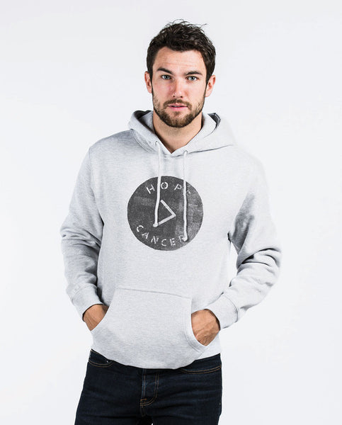 Hope > Cancer Men's Grey Pull Over Hooded Fleece