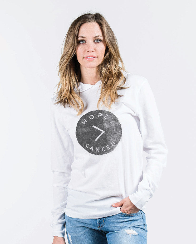 Hope > Cancer Women's  White Pull Over Light Weight Hoodie