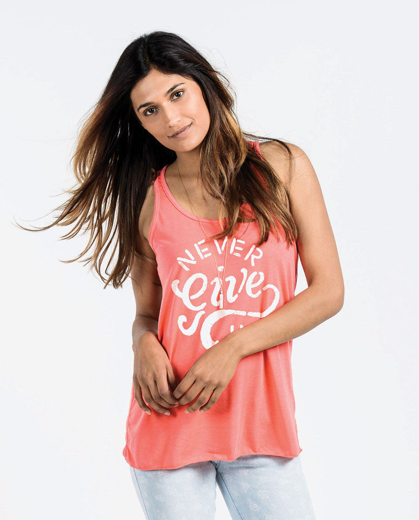 Never Give Up Womens Flowy Racerback Tank