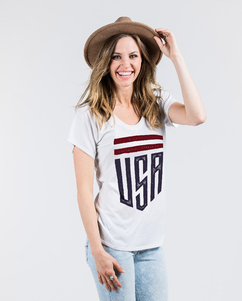 USA Womens White Flowy Raglan