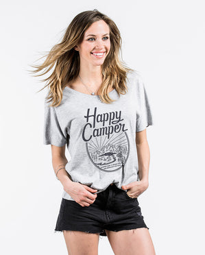 Happy Camper Womens Grey Slouchy Tee