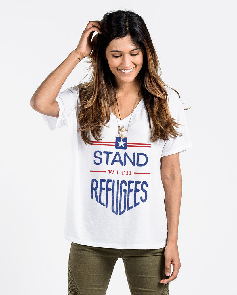 Stand With Refugees Womens Flowy V-Neck