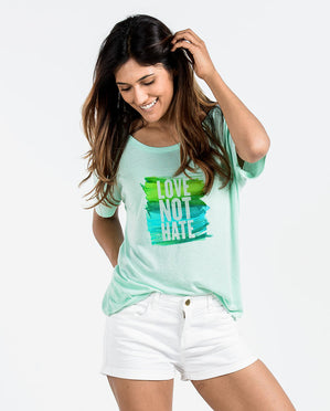 Love Not Hate Womens Mint Slouchy Tee