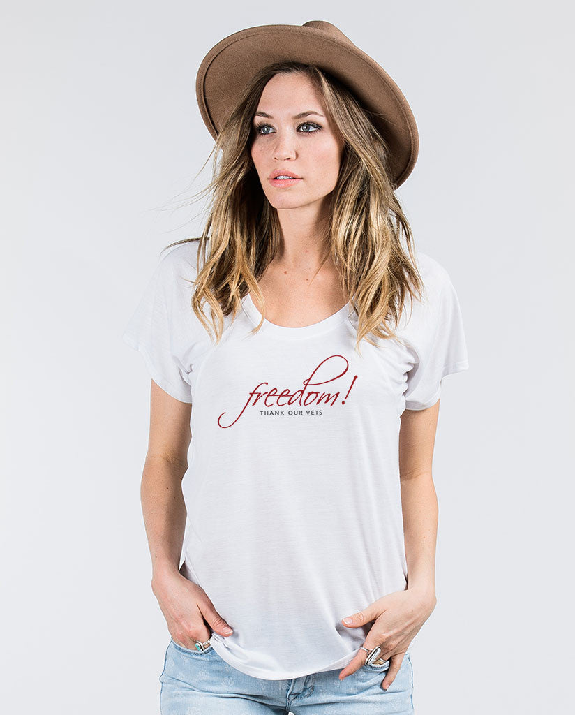 FREEDOM Thank Our Vets Womens Flowy Raglan