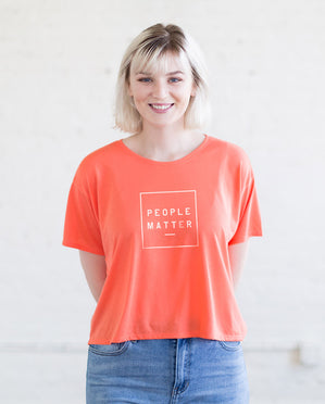 People Matter Womens Coral Flowy Boxy Tee
