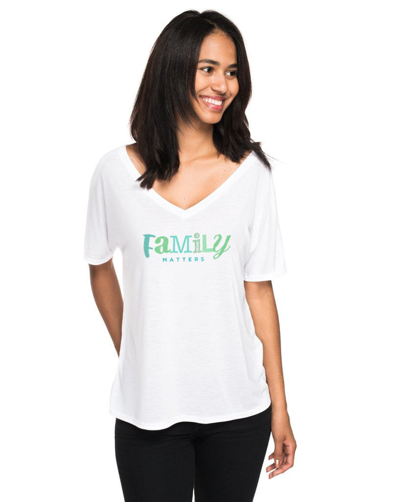 Family Matters Womens Flowy V-Neck