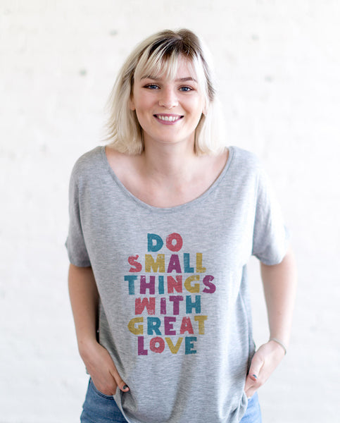 Do Small Things With Great Love Womens Heather White Flowy Dolman