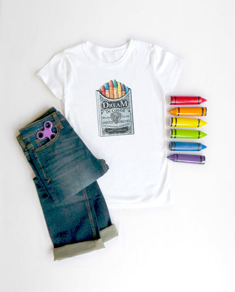 Dream In Color Girls White Tee