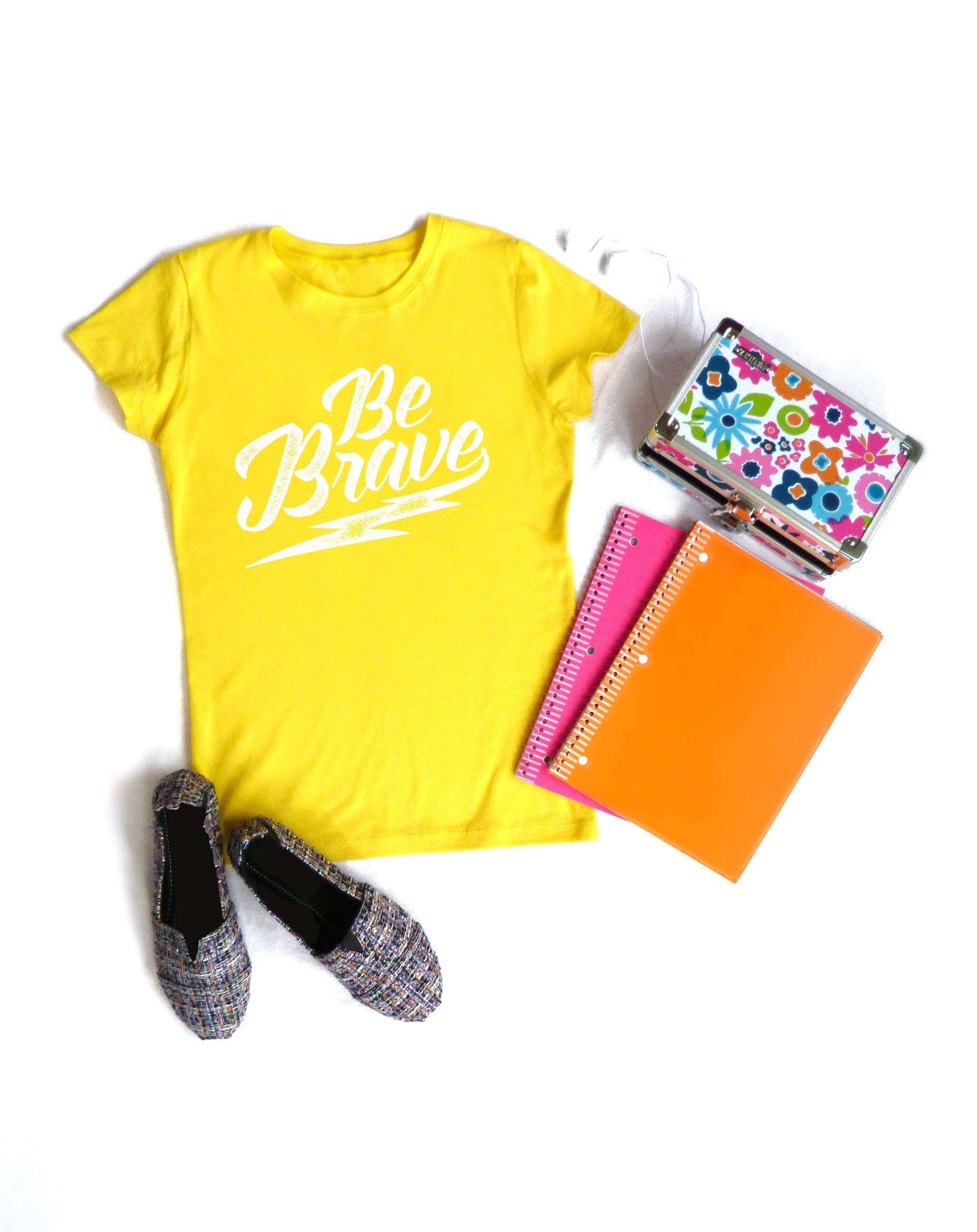 Kid Fighting Cancer - Be Brave - Girls Yellow Tee