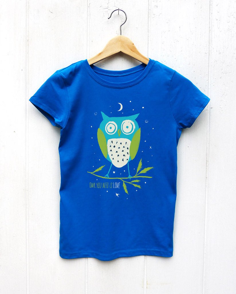 Owl You Need Is Love Girls Blue Tee