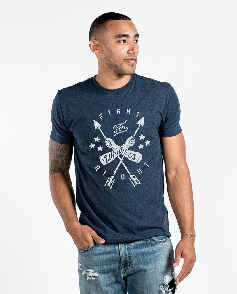 FIGHT FOR WHAT IS RIGHT Mens Navy Premium Fitted Tee