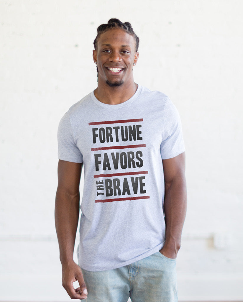 FORTUNE FAVORS THE BRAVE Unisex White Fleck Triblend Short Sleeve Tee