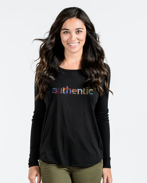 AUTHENTIC Womens Black Flowy Long Sleeve
