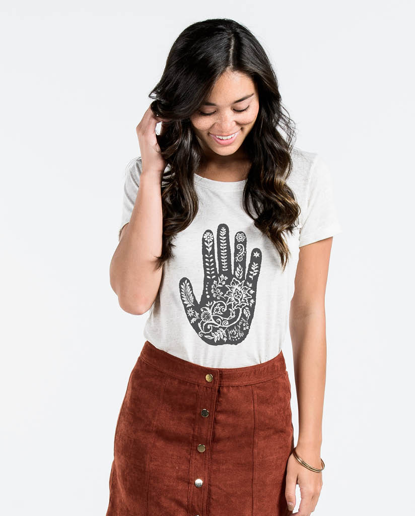 HENNA SAY HI HAND Womens Oatmeal Triblend Short Sleeve Tee