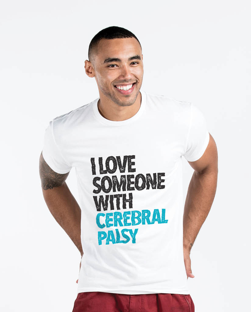 I LOVE SOMEONE WITH CEREBRAL PALSY Mens White Premium Fitted Tee