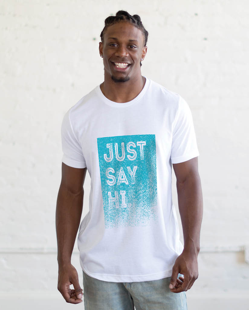 JUST SAY HI Mens White Premium Fitted Tee