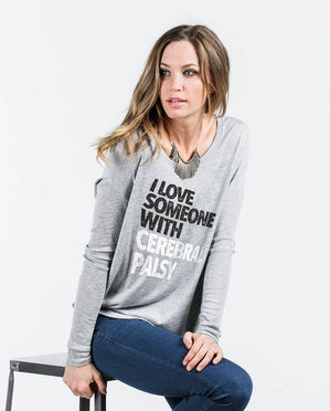 I LOVE SOMEONE WITH CEREBRAL PALSY Womens Grey Flowy Long Sleeve