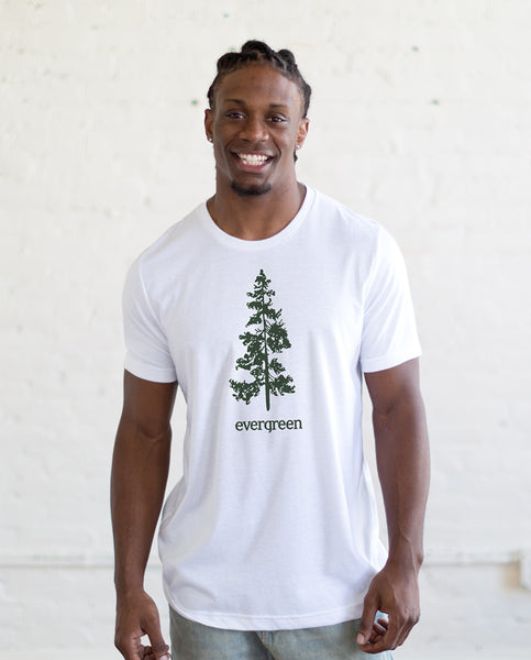 EVERGREEN Mens White Premium Fitted Tee