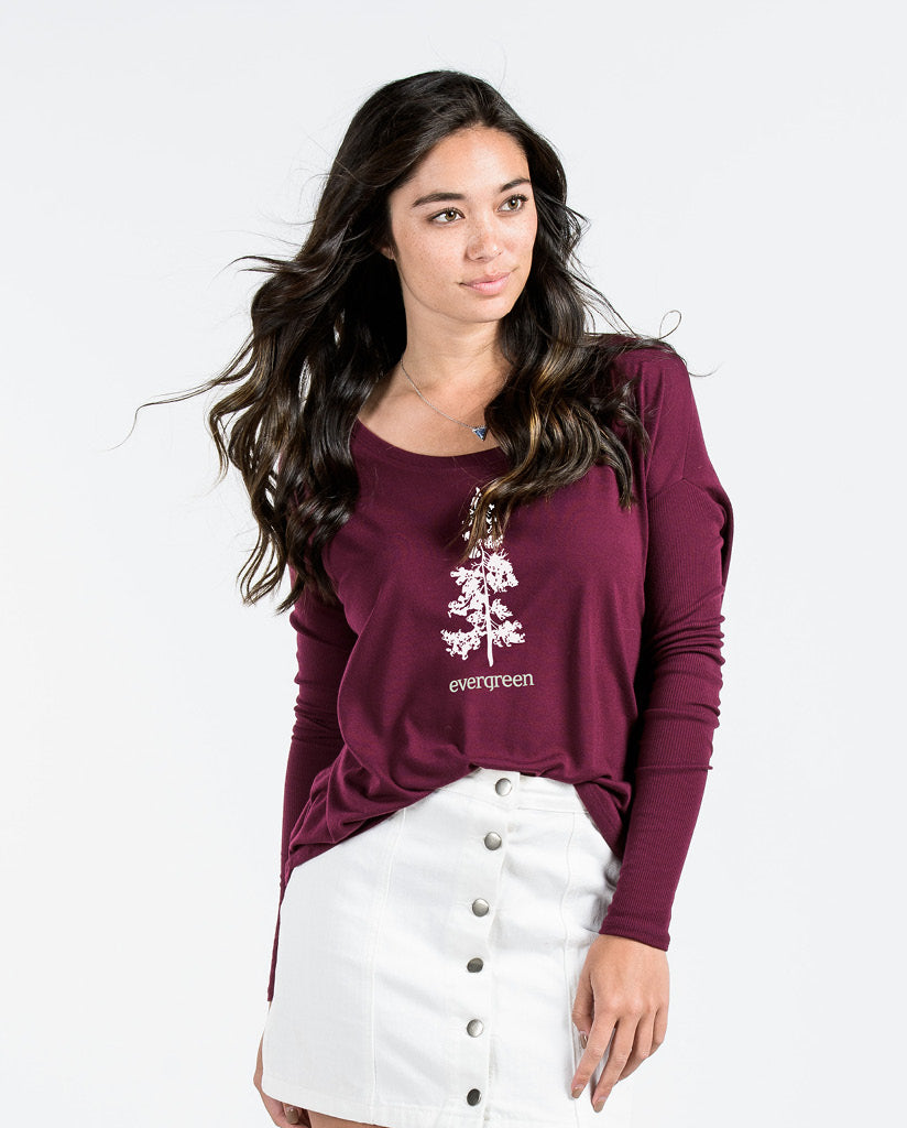 EVERGREEN Womens Maroon Flowy Long Sleeve