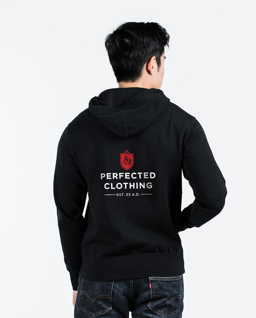 PERFECTED CLOTHING Unisex Black Full Zip Hoodie