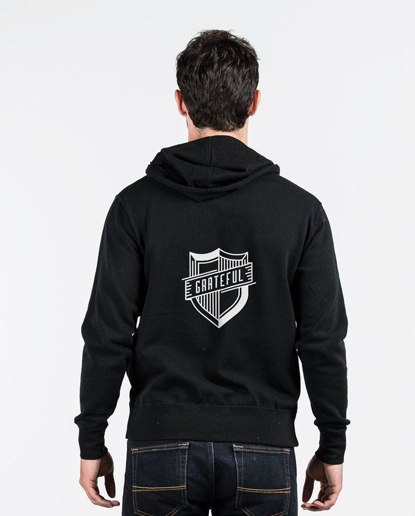 GRATEFUL Unisex Black Full Zip Hoodie