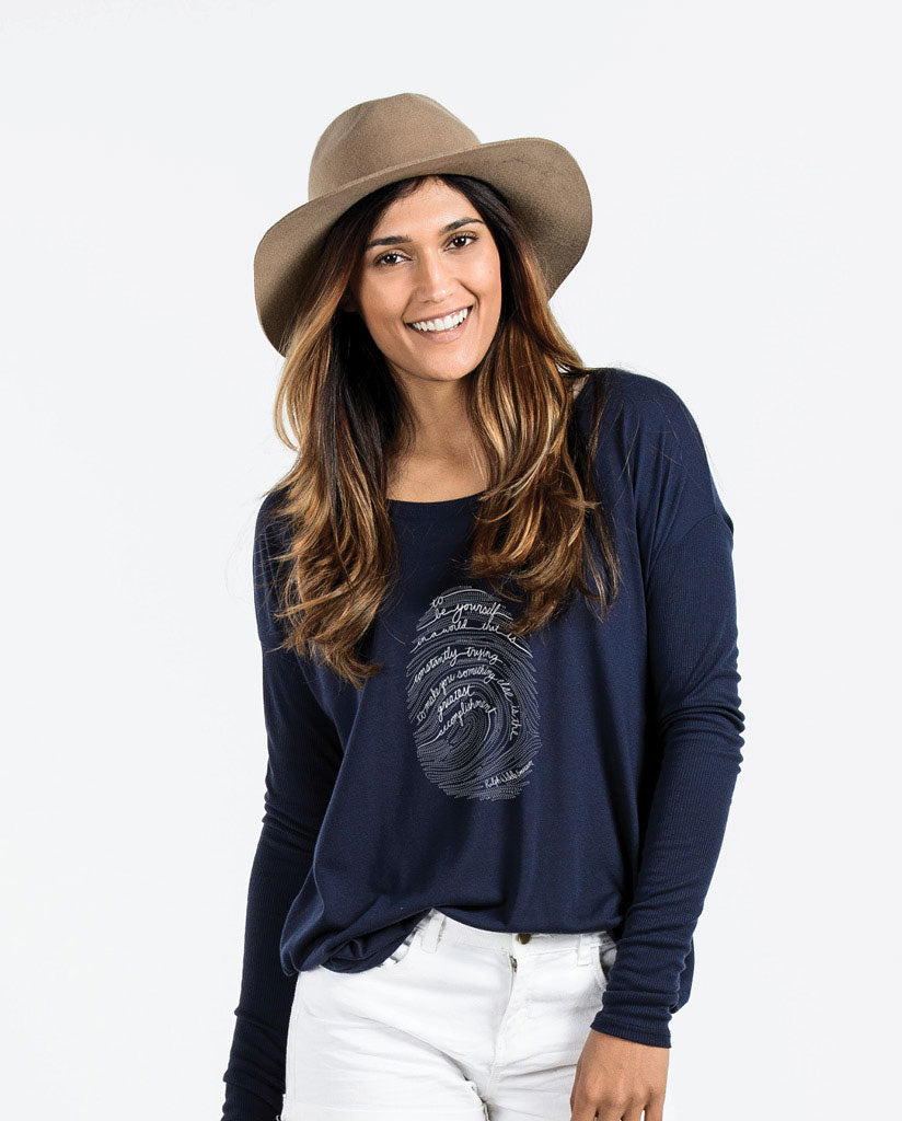 EMERSON FINGERPRINT Womens Navy Flowy Long Sleeve
