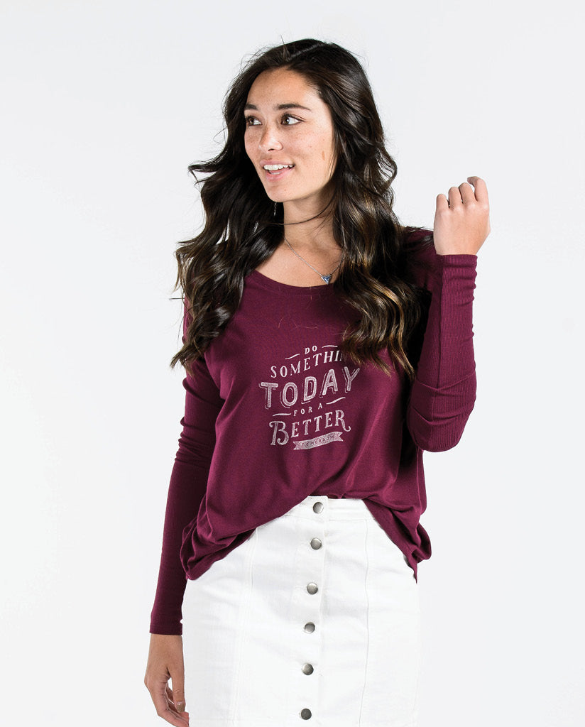 DO SOMETHING TODAY Womens Maroon Flowy Long Sleeve