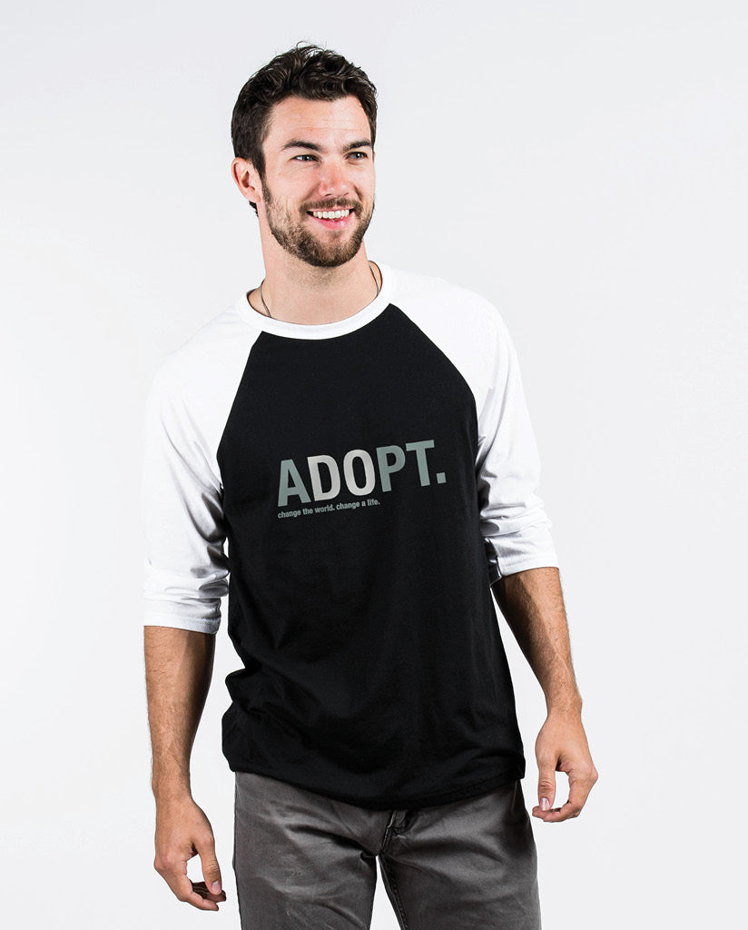 ADOPT Unisex Black/White Quarter Sleeve Baseball Tee