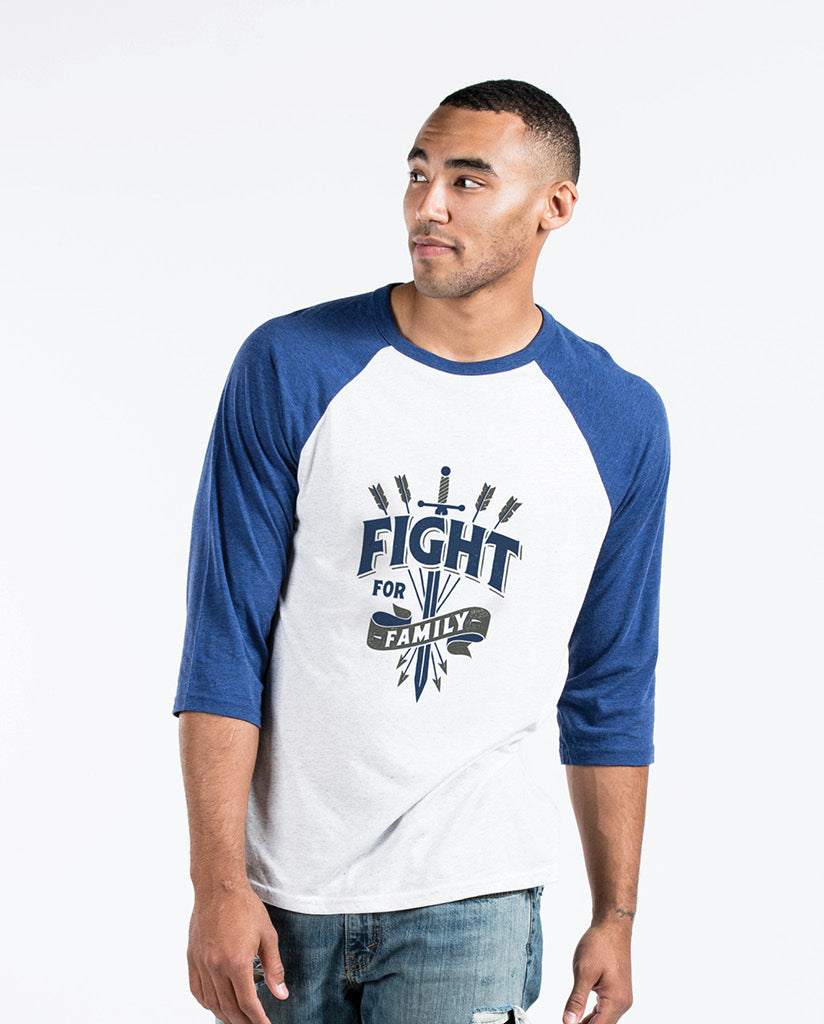 FIGHT FOR FAMILY Unisex Blue/White Quarter Sleeve Baseball Tee