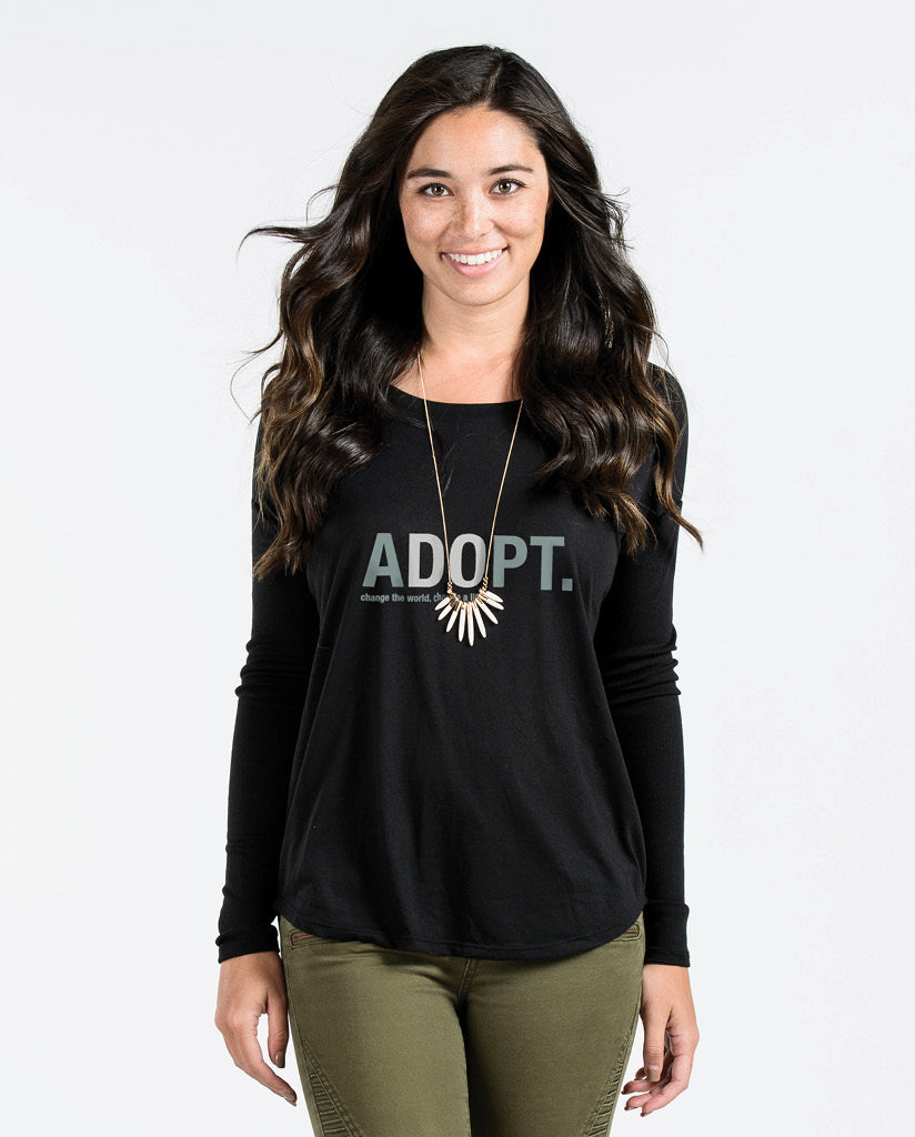 ADOPT Womens Black Flowy Long Sleeve