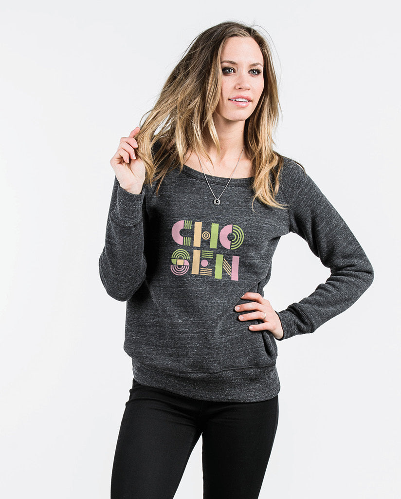 CHOSEN Stacked Womens Charcoal Slouchy Sweatshirt