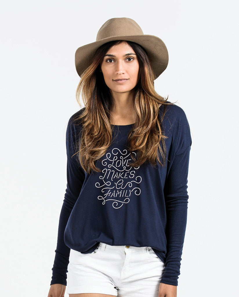 LOVE MAKES A FAMILY Womens Navy Flowy Long Sleeve