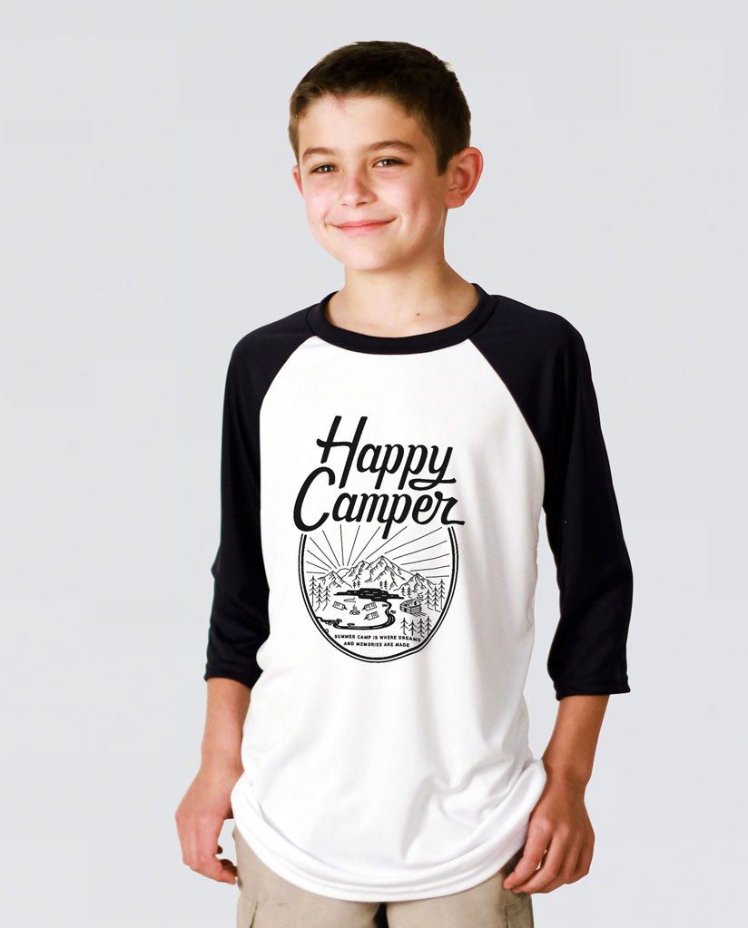 HAPPY CAMPER Youth Vintage Baseball T Shirt