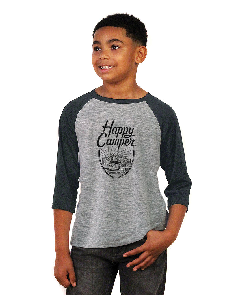 HAPPY CAMPER Youth Heather Vintage Baseball T Shirt