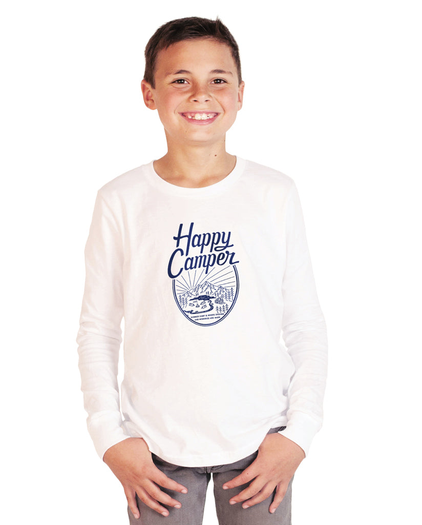 HAPPY CAMPER Youth White Jersey Long Sleeve Tee