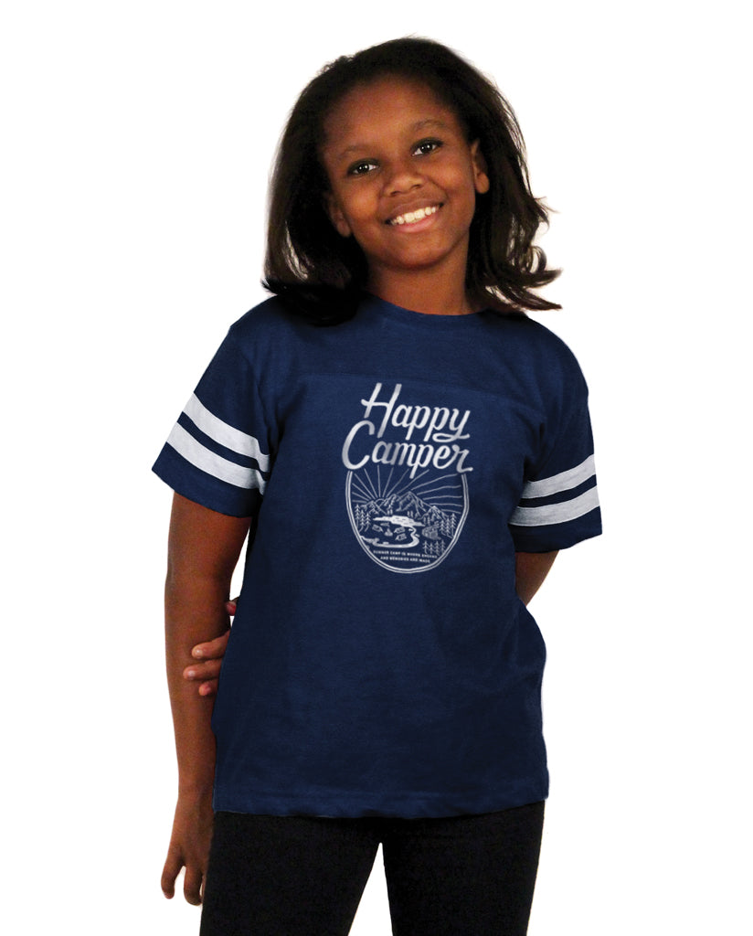 HAPPY CAMPER Youth Blue Football Tee