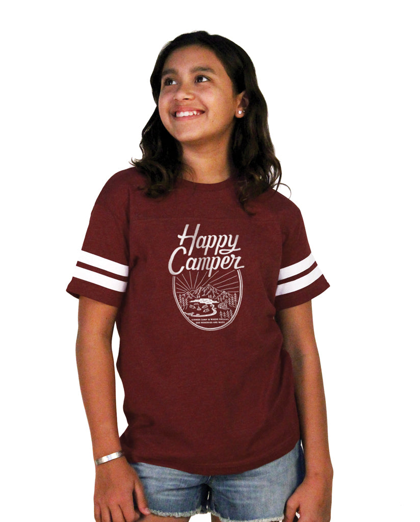 HAPPY CAMPER Youth Burgundy Football Tee