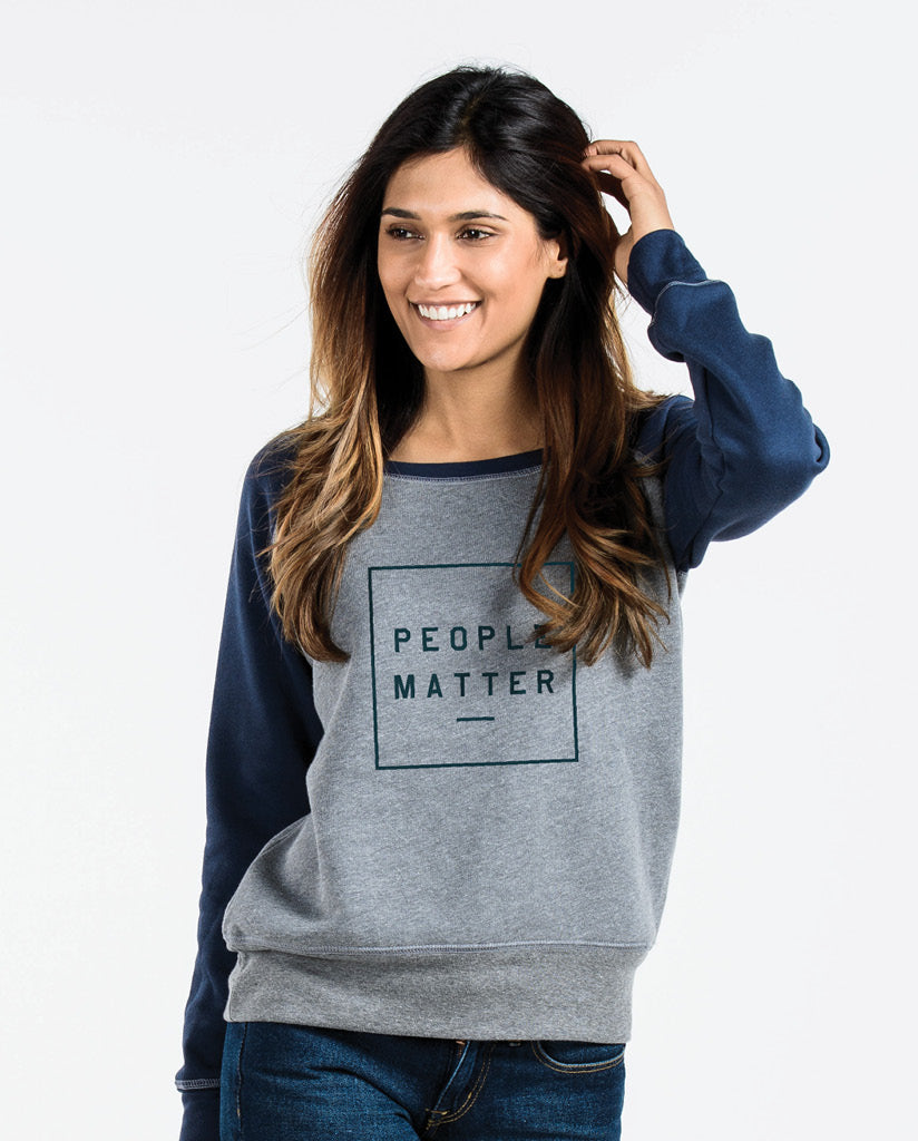 PEOPLE MATTER Womens Navy Slouchy Sweatshirt