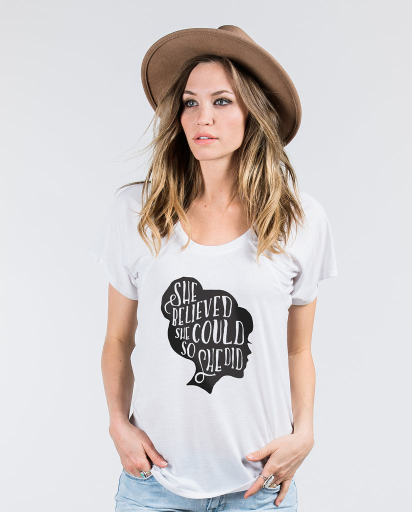 SHE BELIEVED Womens White Raglan