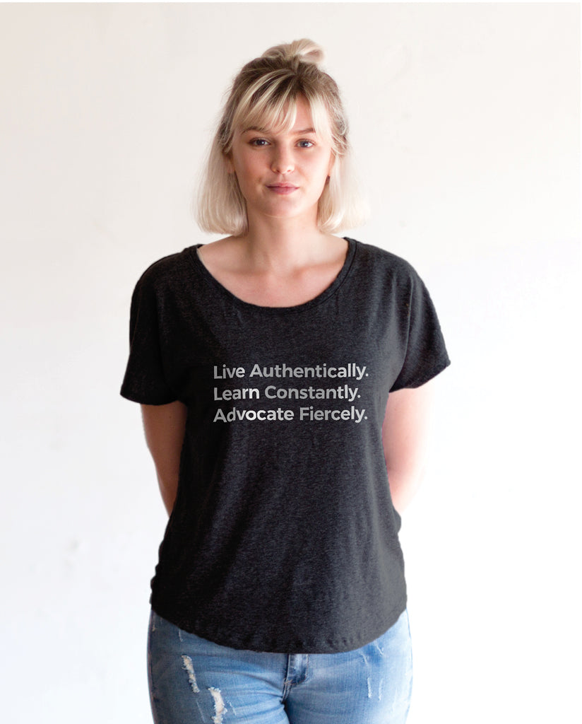 LIVE AUTHENTICALLY Womens Vintage Black Flowy Dolman