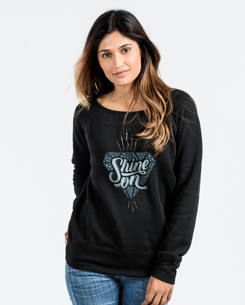 SHINE ON Womens Black Slouchy Sweatshirt