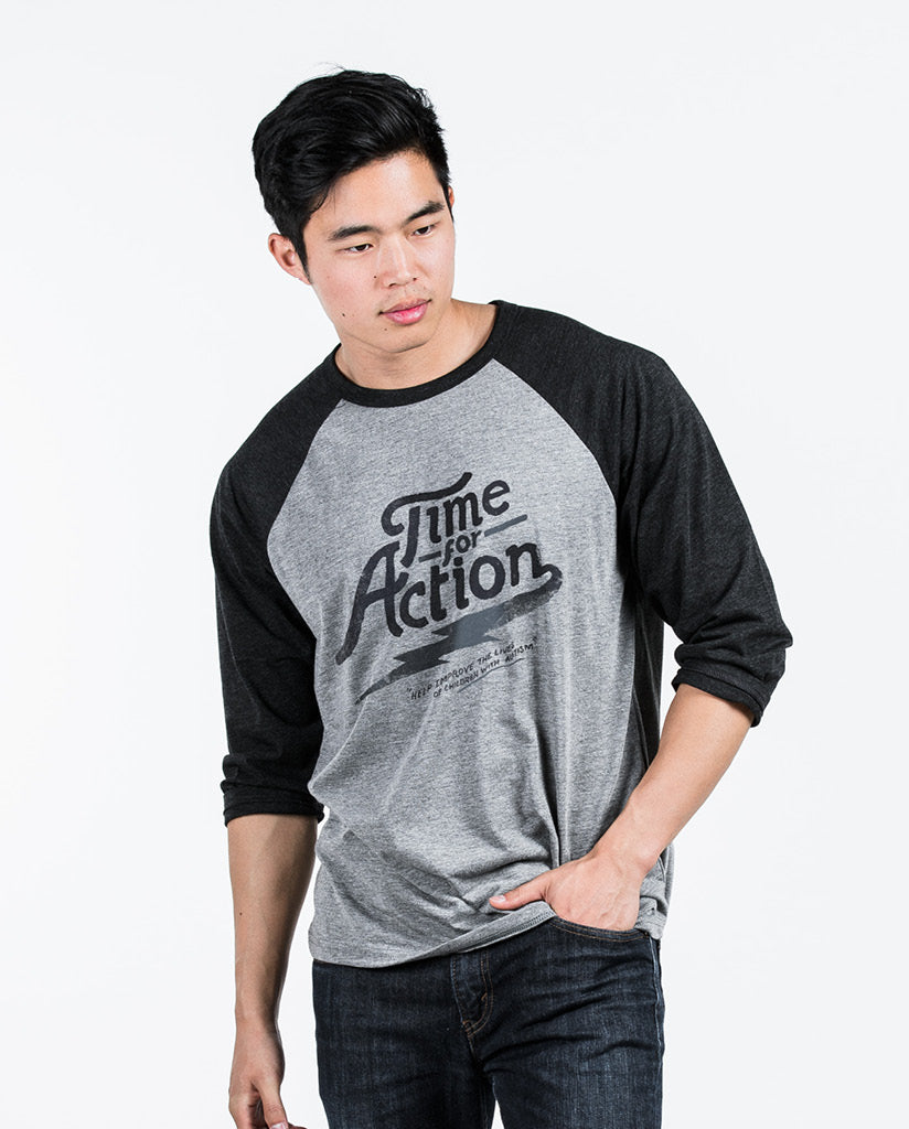 TIME FOR ACTION Unisex Black Quarter Sleeve Baseball Tee