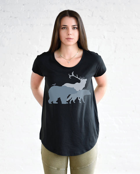 ANIMALS Womens Black Cotton Modal T-Shirt