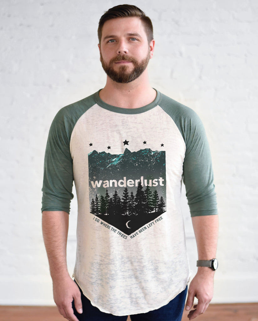 WANDERLUST Unisex Green Burnout Baseball T-Shirt