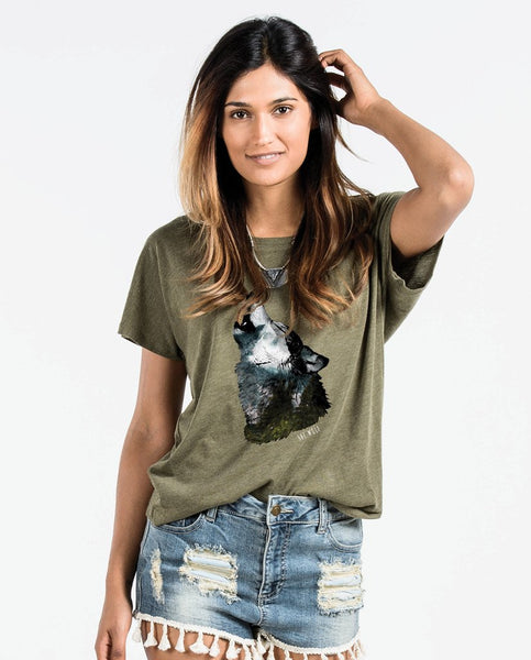 CALL OF THE WILD Womens Green Flowy Dolman