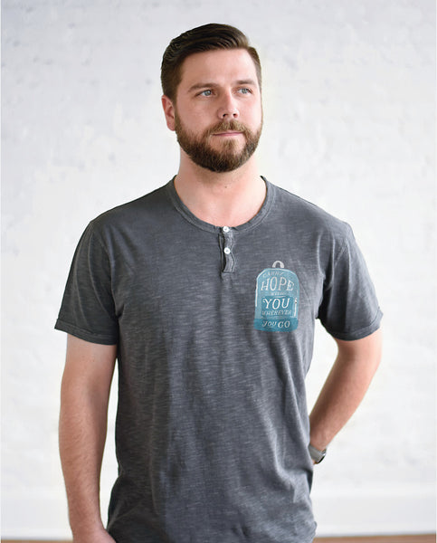 CARRY HOPE Mens Grey Henley