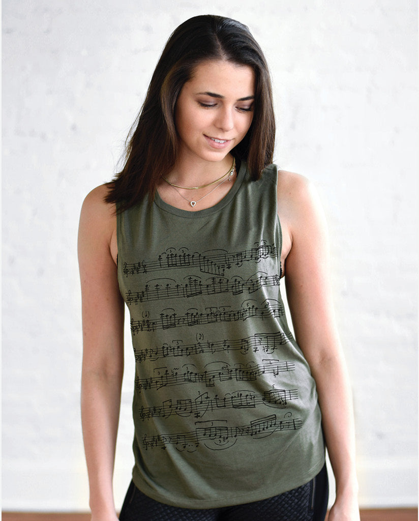 SHEET MUSIC Womens Green Muscle Tank